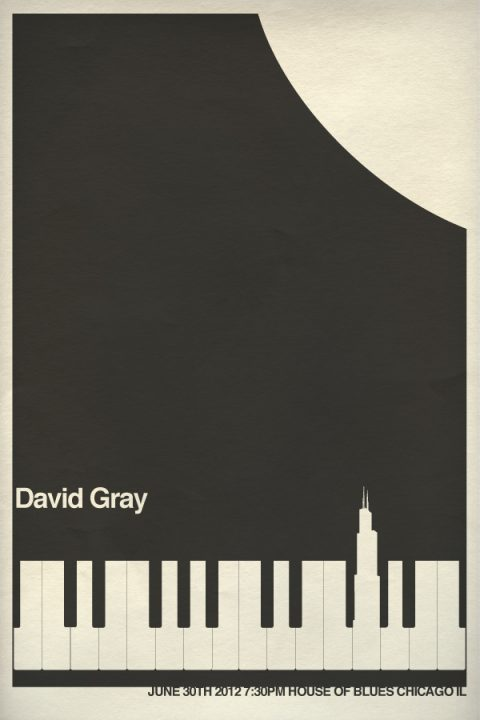 David Gray Chicago gig poster