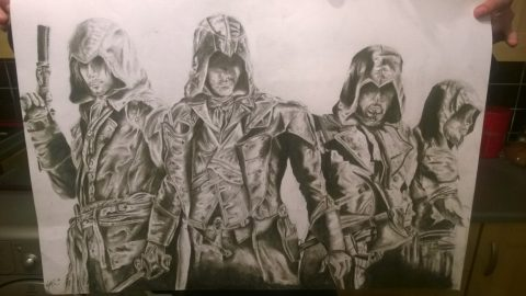 Assassins creed unity pencil drawing