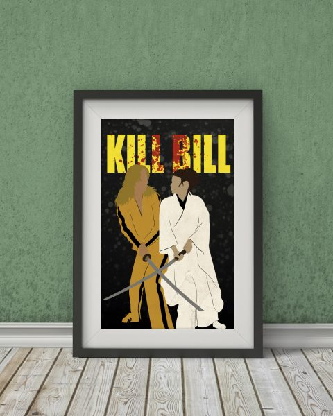 Kill Bill Inspired Movie Poster – The Bride vs O-Ren Ishii – Fan Art, Minimalist