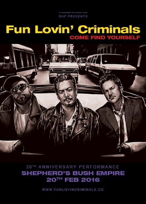 Fun Lovin' Crimials – Come Find Yourself 20th anniversary tour poster