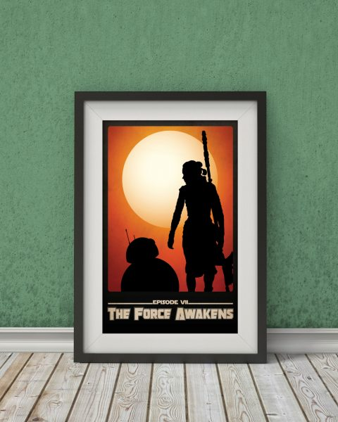 Star Wars The Force Awakens-Inspired Movie Poster – Minimalist, Fan Art
