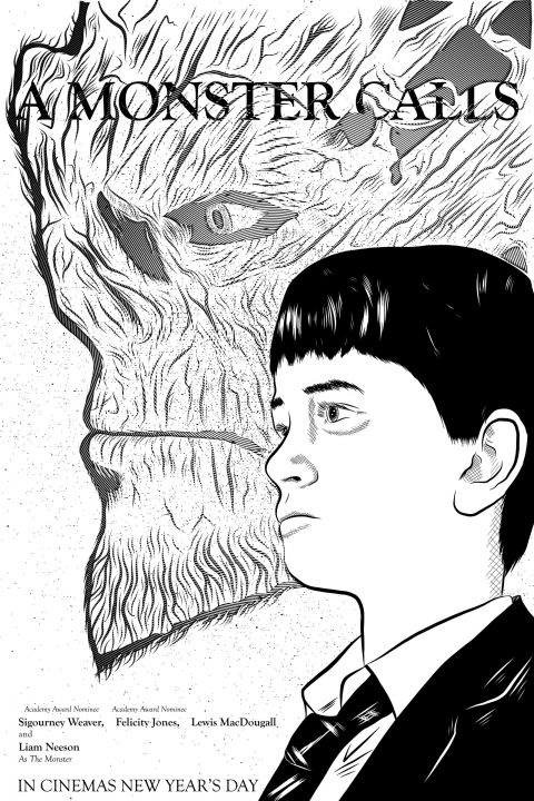 A Monster Calls- B&W Vector Poster