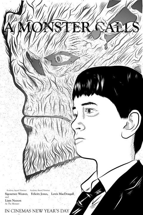 A Monster Calls- B&W Vector Poster