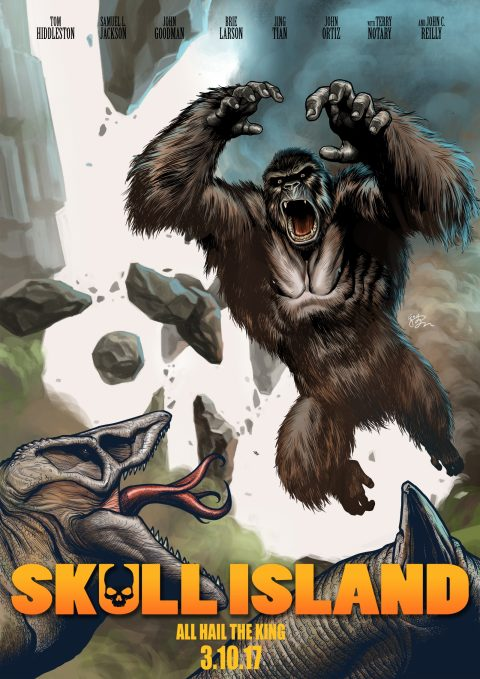 Kong: Skull Island Illustrated Poster by E.J.Su
