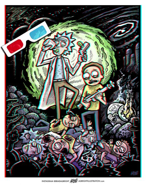 RICKOR MORTIS – Rick & Morty 3D Poster Illustration with included anaglyphic red/blue glasses.