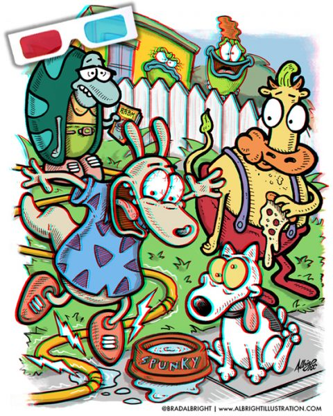 ROCKO'S MODERN LIFE | 3D Anaglyph Poster with Retro Red/Blue 3D Glasses