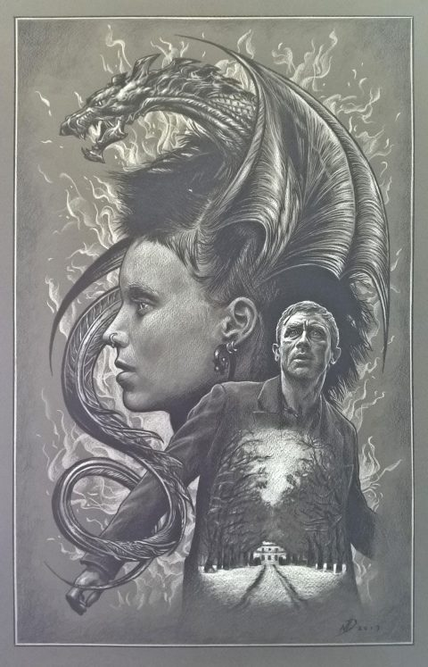 The Girl With The Dragon Tattoo – pencil drawing