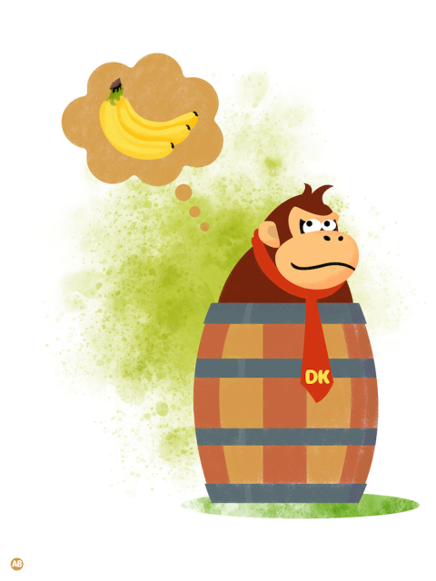 Donkey Kong trapped in a barrel (Nintendo series)