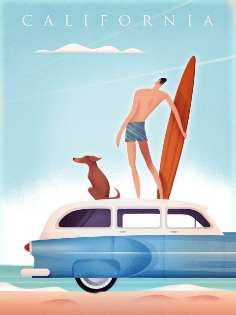 California Surfer Vintage Travel Poster