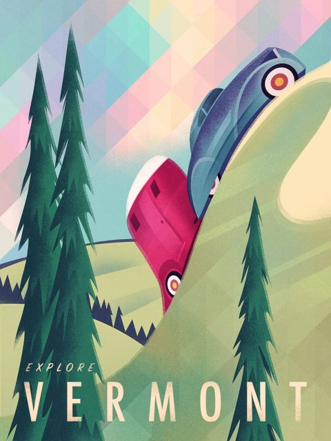 Vintage Travel Poster Camping Vermont