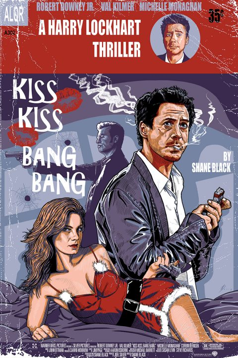 Kiss Kiss Bang Bang screenprint alternative movie poster
