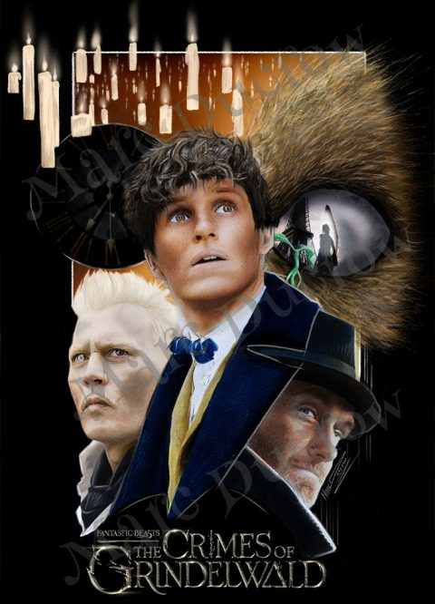 Traditionally Painted poster for Fantastic Beasts- The Crimes of Grindelwald
