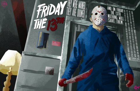 FRIDAY THE 13TH ALTERNATIVE POSTER DESIGN (NON LINE ART VARIANT)