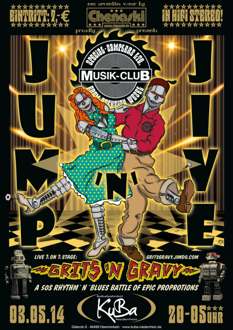 Musik-Club presents GRITS 'N GRAVYPoster for a gig and party series.