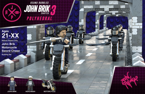 JOHN BRIK CHAPTER 3 POLYHEDRAL MOVIE MASHUP PARODY 3D PACKAGE DESIGN VARIANT 1