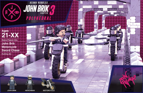 JOHN BRIK CHAPTER 3 POLYHEDRAL MOVIE MASHUP PARODY 3D PACKAGE DESIGN VARIANT 2