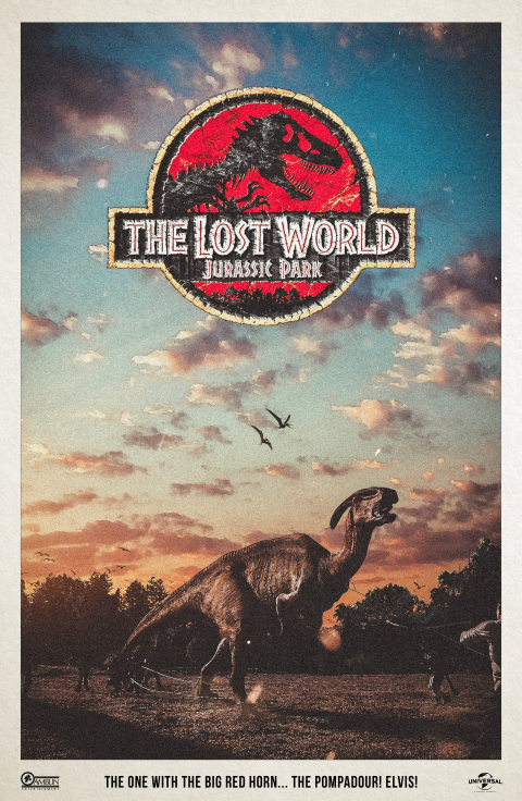 """""""The one with the big red horn. The pompadour. Elvis!"""" – The Lost World Alternative Movie Poster"""