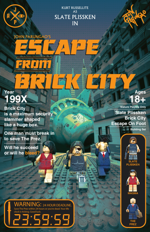 ESCAPE FROM BRICK CITY MOVIE MASHUP PARODY 3D PACKAGE DESIGN ORANGE VARIANT