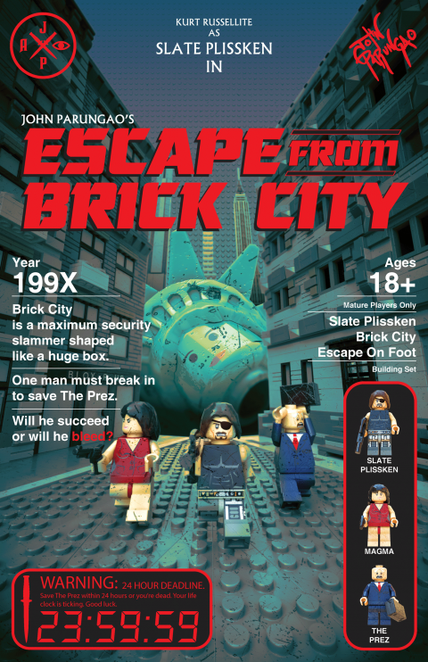 ESCAPE FROM BRICK CITY MOVIE MASHUP PARODY 3D PACKAGE DESIGN RED VARIANT