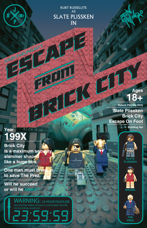 ESCAPE FROM BRICK CITY MOVIE MASHUP PARODY 3D PACKAGE DESIGN TURQ VARIANT