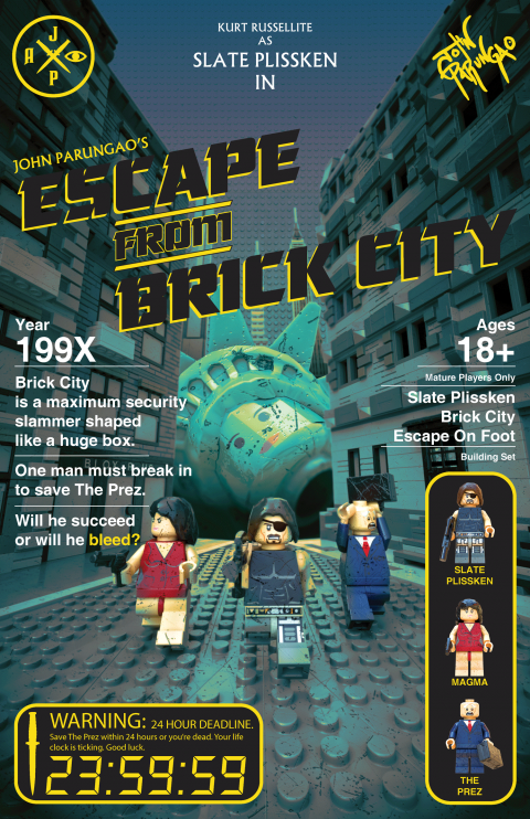 ESCAPE FROM BRICK CITY MOVIE MASHUP PARODY 3D PACKAGE DESIGN YELLOW VARIANT