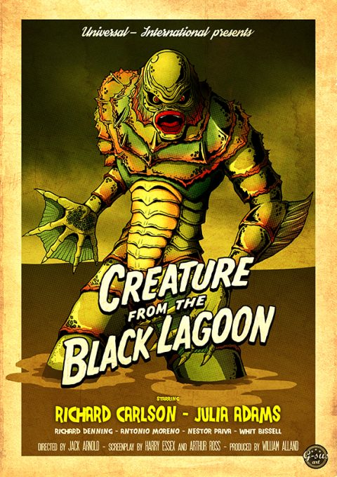 G-SUS ART CREATURE FROM THE BLACK LAGOON ART PRINT