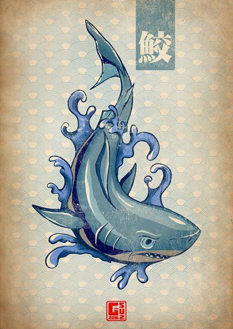 G-SUS ART JAPANESE SHARK ART PRINT
