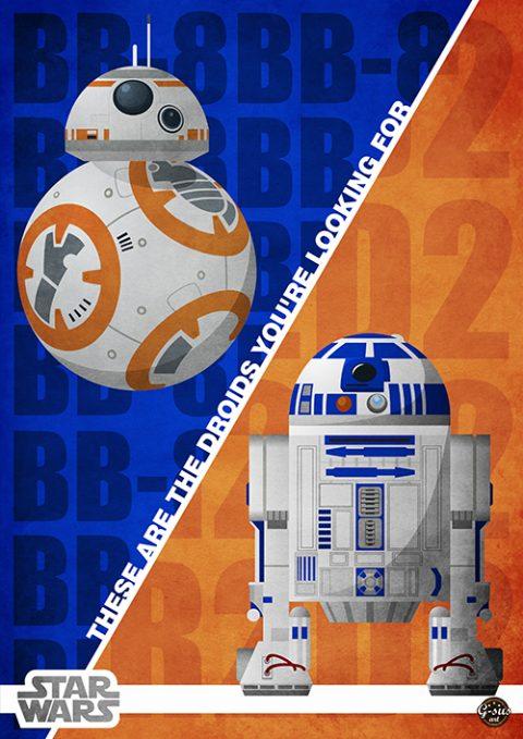 G-SUS ART STAR WARS R2D2 – BB8 ART PRINT