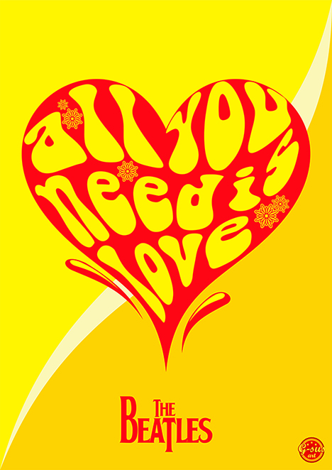 G-SUS ART BEATLES – ALL YOU NEED IS LOVE ART PRINT