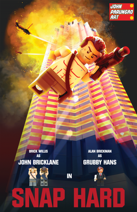 JOHN SNAP HARD BRICK WILLIS AS JOHN BRICKLANE MOVIE MASHUP PARODY 3D PACKAGE DESIGN VARIANT 1