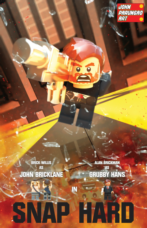 JOHN SNAP HARD BRICK WILLIS AS JOHN BRICKLANE MOVIE MASHUP PARODY 3D PACKAGE DESIGN VARIANT 2