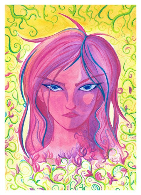 G-SUS ART WATERCOLOR GIRL ART PRINT