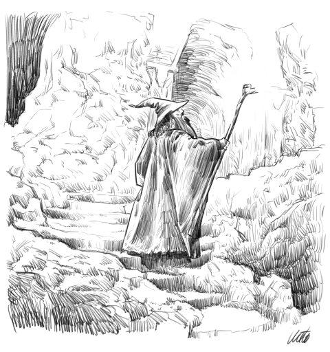 Gandalf in Moria Mines