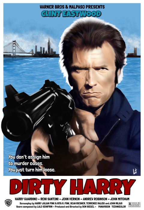 Dirty Harry 1971 – Clint Eastwood – directed by Don Siegel – Alternative movie poster 2 – digital painting by Laurent Carbonelle