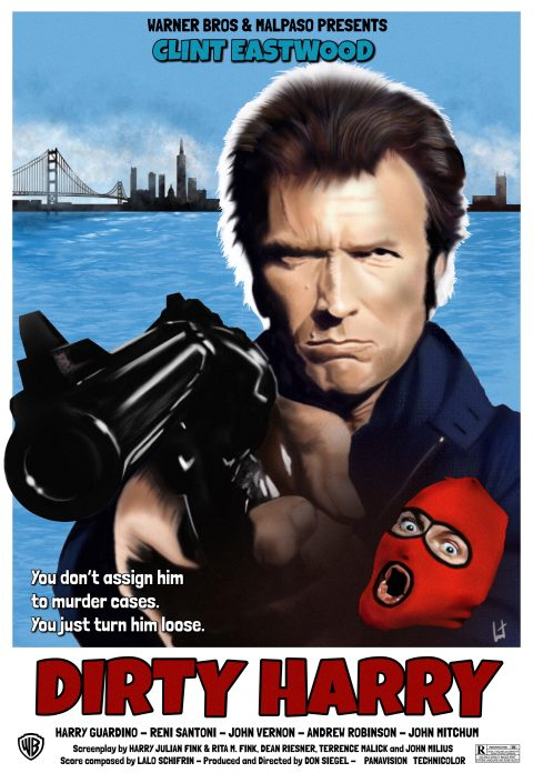 Dirty Harry 1971 – Clint Eastwood – directed by Don Siegel – Alternative movie poster 1 – digital painting by Laurent Carbonelle