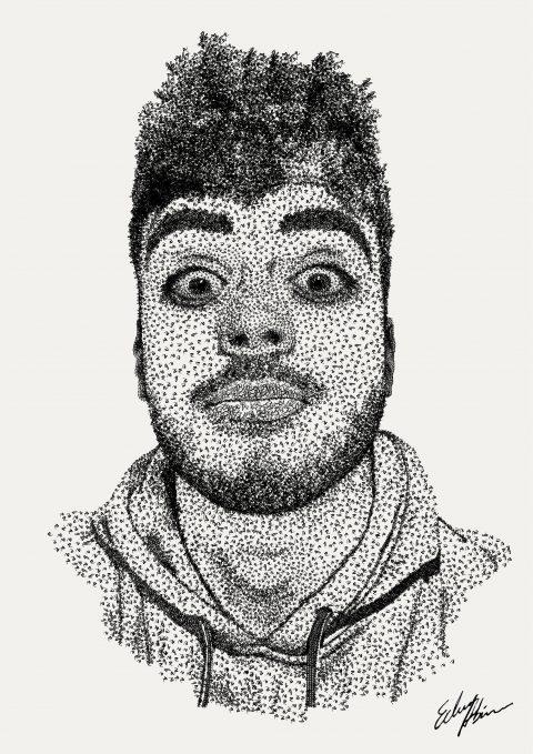 Portrait (Pointillism digital with letters)